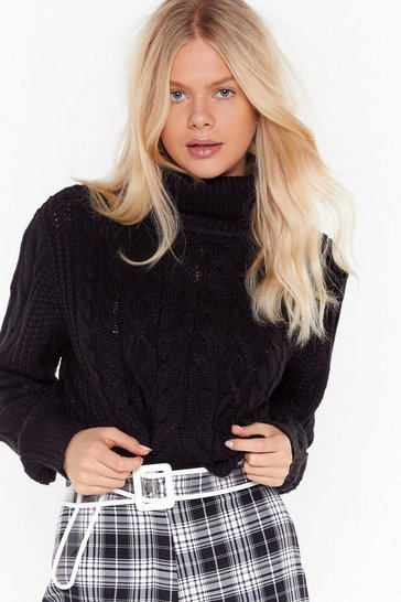 Womens Black Knit Back Cable Knit Sweater