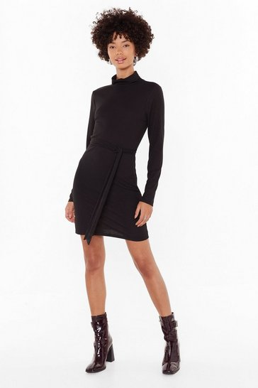 Black Heard Rib All Belted Mini Dress