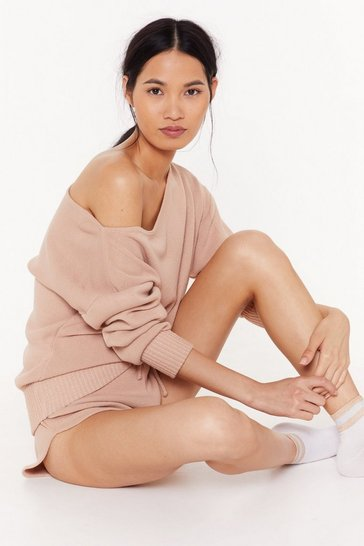 Womens Nude Kick Back & Relax Pajama Sweater and Shorts Set