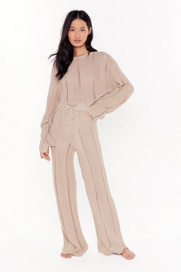 Womens Oatmeal At A Ladder Date Sweater & Pant Lounge Set