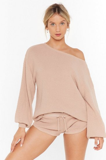Womens Nude Knit Happens Sweater and Shorts Lounge Set