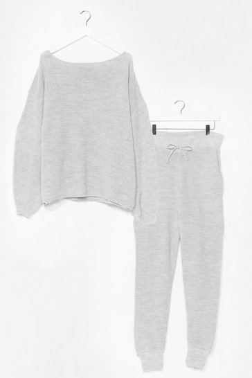Womens Grey Knit Happens Balloon Sleeve Jumper and Joggers Lounge Set