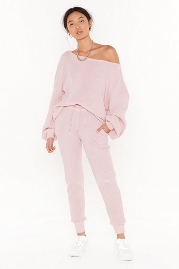 Mink Knit Happens Balloon Sleeve Sweater and Joggers Lounge Set