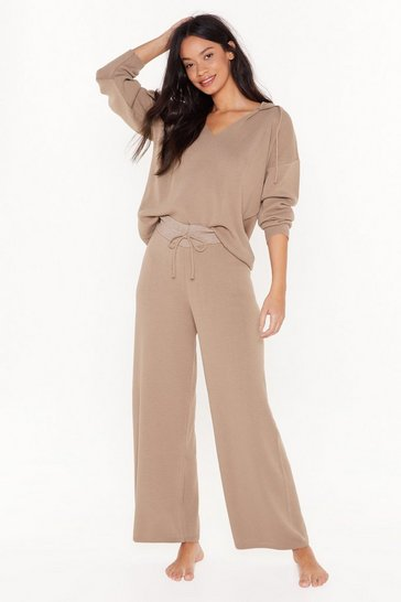 Womens Brown By Your Side Hoodie and Wide-Leg Trousers Lounge Set
