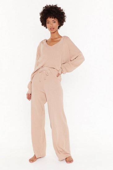 Womens Nude By Your Side Hoodie and Wide-Leg Trousers Lounge Set