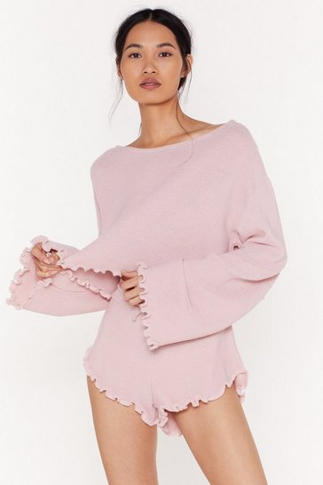 Mink Jump Into Bed Sweater and Ruffle Shorts Lounge Set