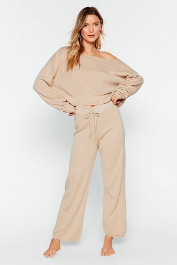 Womens Oatmeal Slow Down Sweater And Jogger Lounge Set