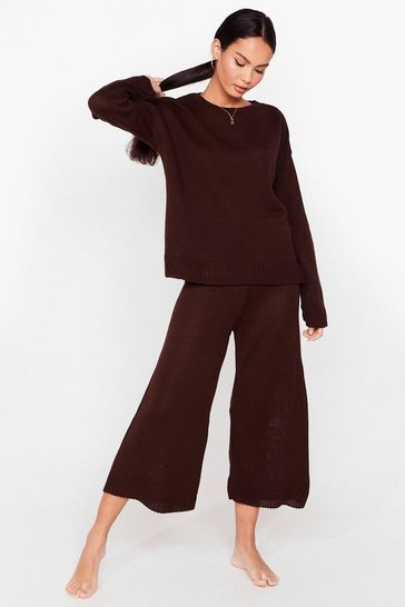 Chocolate Knitted Sweater and Culotte Pants Set
