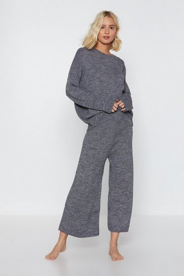 Grey You've Met Your Match Knitted Sweater and Pants