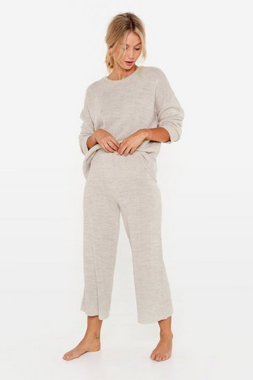 Oatmeal Knitted Sweater and Culotte Pants Set