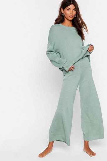 Sage You've Met Your Match Knitted Sweater and Pants