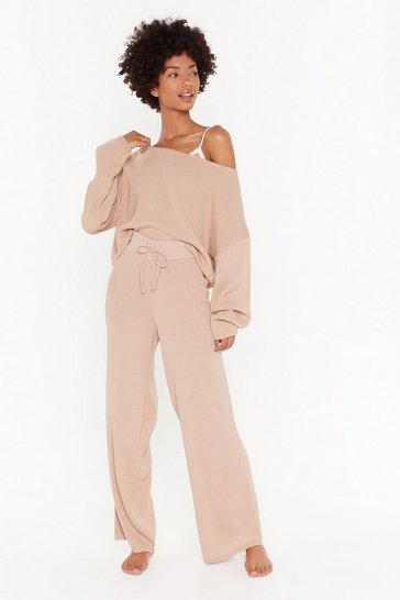 Womens Nude Sleep It Off Sweater and Wide-leg Pants Lounge Set