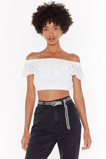 Womens White Broderie Awesome Off-the-Shoulder Crop Top