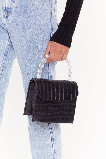 Womens Black WANT Bead My Lips Faux Leather Croc Bag