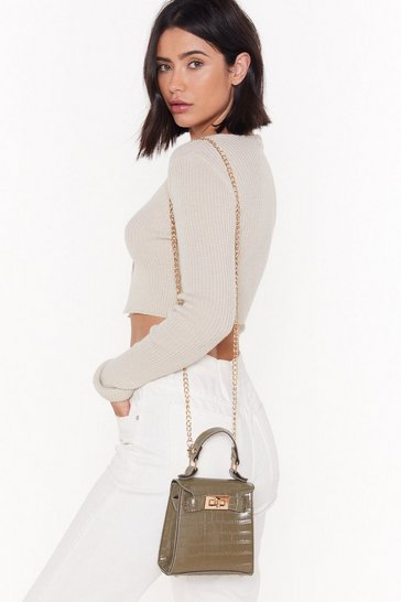 Womens Olive WANT Croc 'Em Back Faux Leather Mini Crossbody Bag