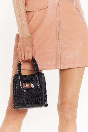 Black WANT Croc Like Me Faux Leather Mini Bag