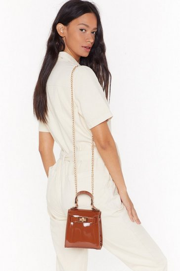 Womens Caramel WANT Patently Clear Mini Crossbody Bag