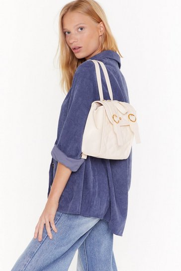 Cream WANT We Quilt This City Faux Leather Backpack