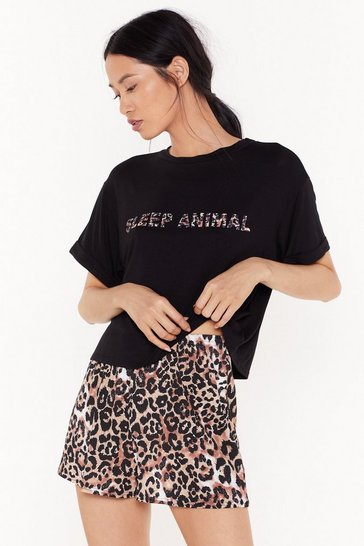 Womens Black Sleep Animal Leopard Short Pajama Set
