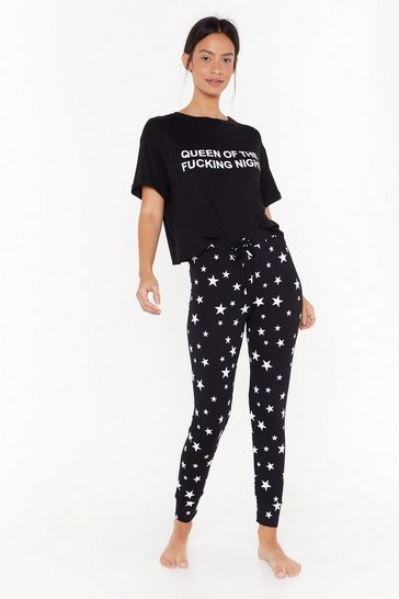 Womens Black Queen Of The Fucking Night Star PJ Jogger Set