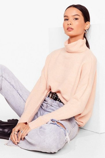 Blush Slouchy Knit Turtleneck Sweater