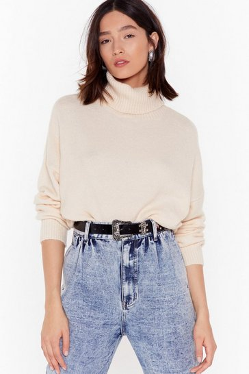 Ivory boucle oversize roll neck jumper