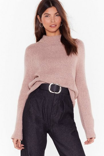 Womens Dusky pink Ready For Knit Fitted High-Neck Sweater