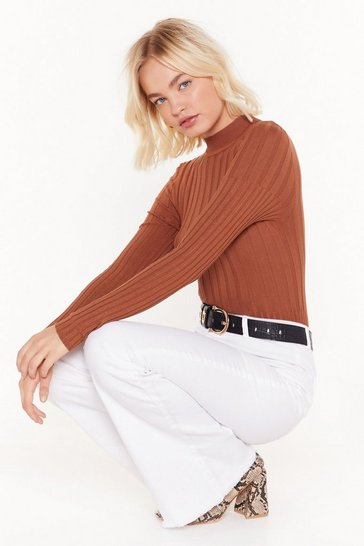 Womens Cinnamon Round That Ballpark Ribbed Sweater