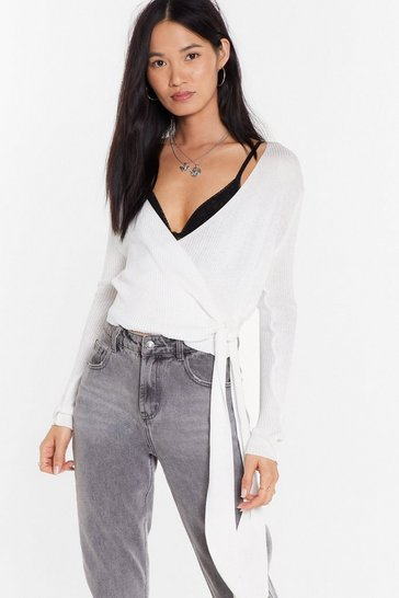 Womens Ecru Knit Wrap Crop Top