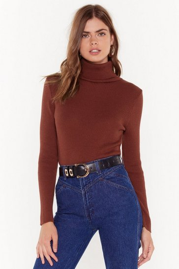 Womens Rust The Winner Takes Knit All Turtleneck Sweater