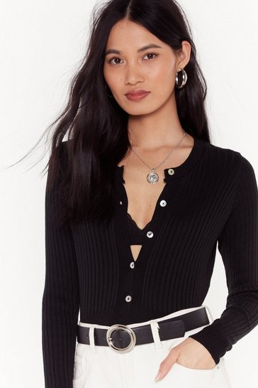 Womens Black Button-Down With it Ribbed Pearl Cardigan