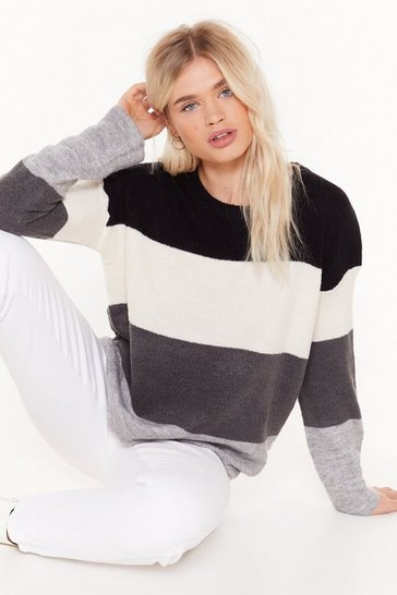 Womens Grey Listen to the Strokes Striped Relaxed Sweater