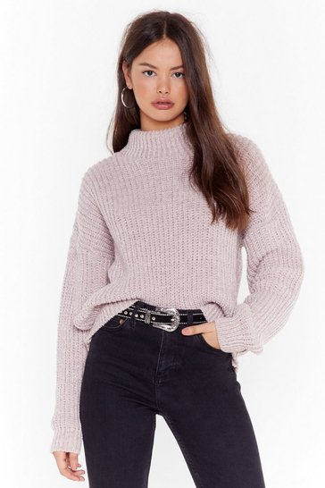 Pink Ain't No Doubt About Knit High Neck Sweater
