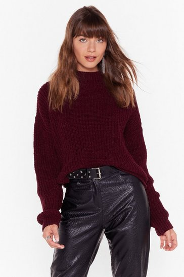 Womens Wine Just Wing Knit Crew Neck Sweater