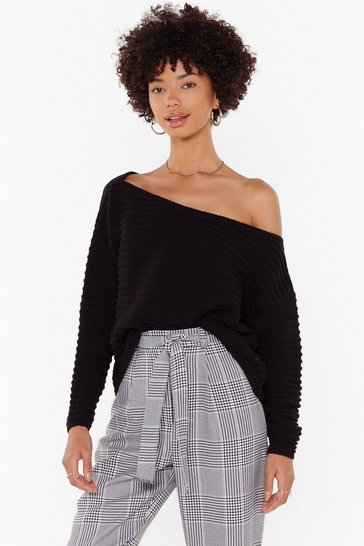 Womens Black Day Off-the-Shoulder Ribbed Jumper