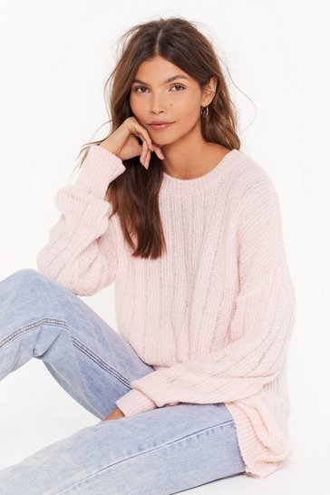 Womens Pink Hello Knit's Me Ribbed Longline Sweater