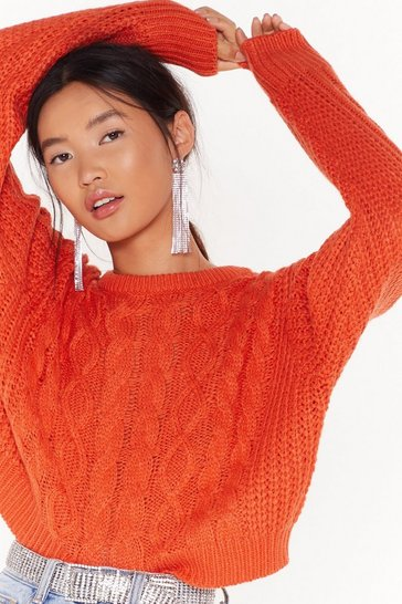 Womens Orange cable cropped crew neck jumper