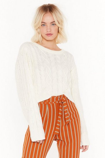 Womens Cream cable cropped crew neck jumper