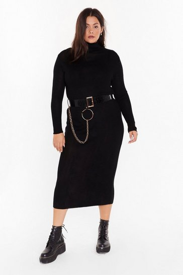 Womens Black Take No Knit Plus Ribbed Midi Dress