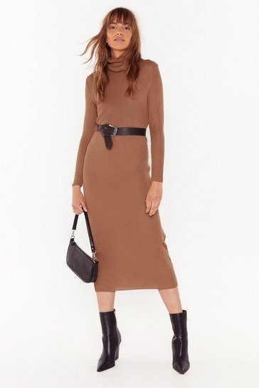 Womens Camel This is How We Roll Ribbed Midi Dress