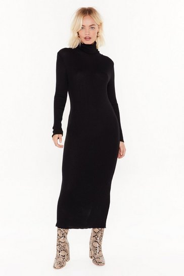 Womens Black Take No Knit Ribbed Midi Dress