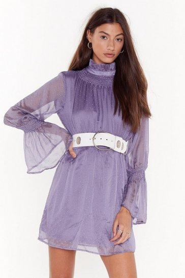 Womens Lilac Sheer's to Us Polka Dot Mini Dress