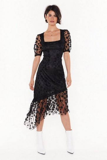 Black 32 Spot to Be Missed Polka Dot Midi Dress