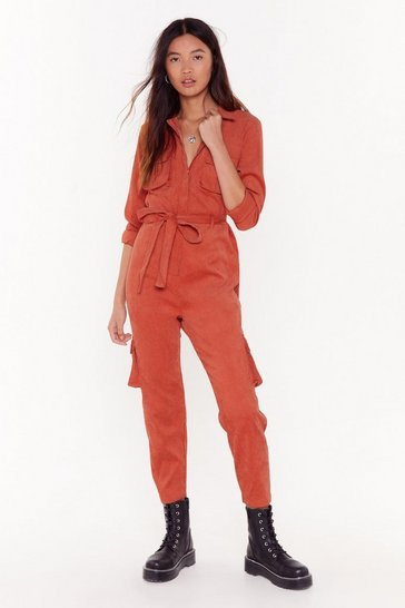 Womens Rust Belt My Heart Corduroy Boilersuit