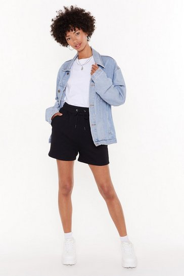 Womens Black Who Run the World High-Waisted Jogger Shorts