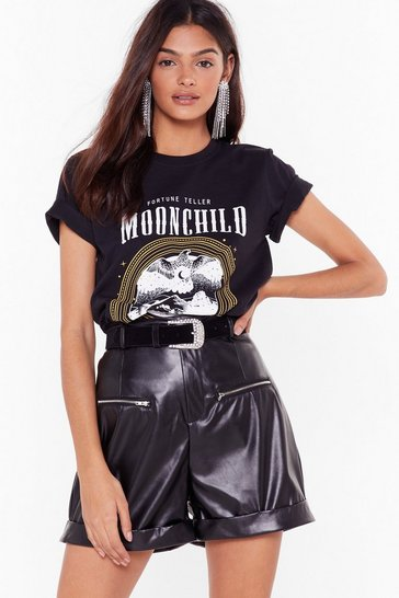 Womens Black Leather Gonna Change Faux Leather High-Waisted Shorts