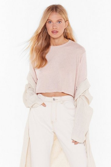 Womens Nude Think Outside the Boxy Cropped Tee