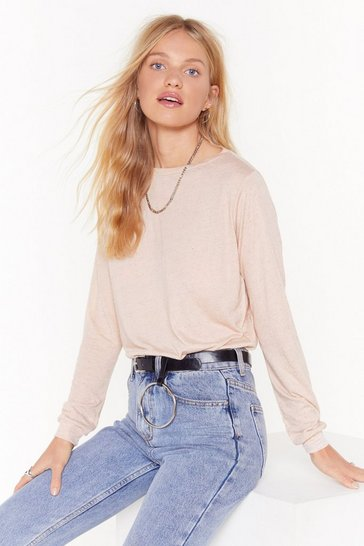 Nude Relaxed Long Sleeve T-Shirt with Boat Neckline