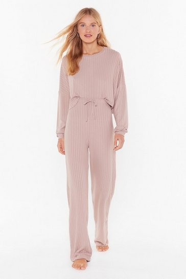 Womens Nude Knit Wasn't Me Ribbed Wide-Leg Pants