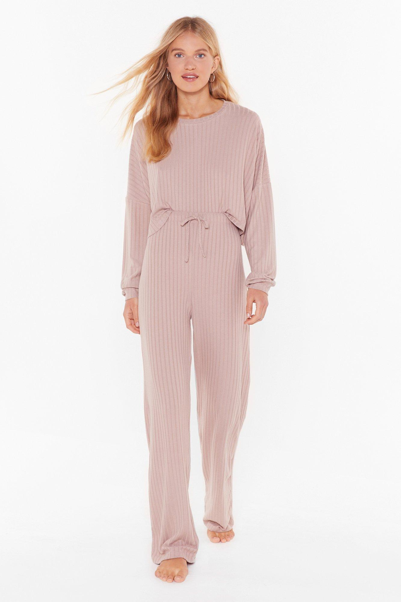 Knit Wasn't Me Ribbed Wide Leg Trousers by Nasty Gal